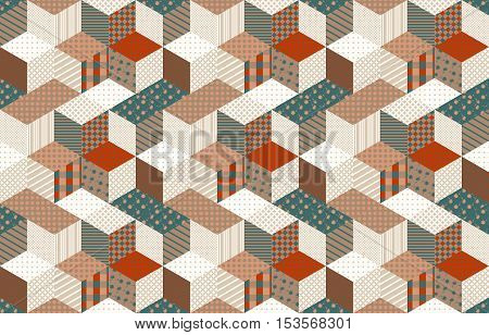 Seamless patchwork pattern with stars. Vector background. Quilting in brown and green tones.