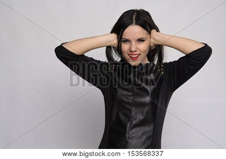 Closeup Portrait Of A Young Woman Suffering From  Migraine Headache On Top   Loud Noise Coming   Nei