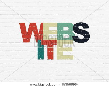 Web design concept: Painted multicolor text Website on White Brick wall background