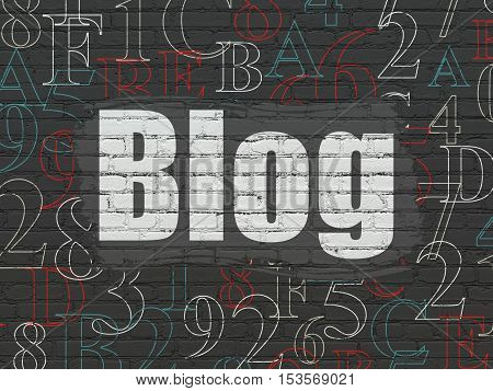 Web development concept: Painted white text Blog on Black Brick wall background with  Hexadecimal Code