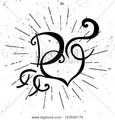Vector black and white logo with heart. Letter D