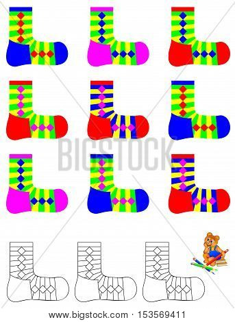 Logic exercise for children. Need to find three unpaired socks and paint them in relevant colors. Vector image.