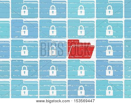Business concept: rows of Painted blue folder with lock icons around red folder icon on White Brick wall background