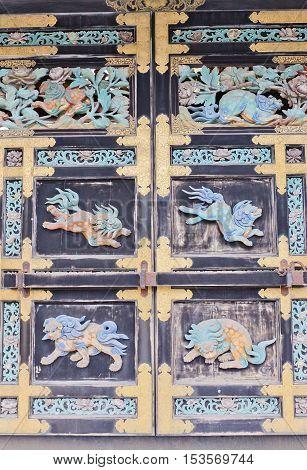 KYOTO JAPAN - JULY 27 2016: Detail of Karamon Gate (circa 1573) of Nishi Hongan-ji Temple in Kyoto. National Treasure of Japan and UNESCO site