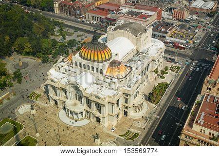 Palace of Fine Arts or Palacio de Bellas Artes in Mexico City Mexico seen from the top of Torre Latinoamericana.