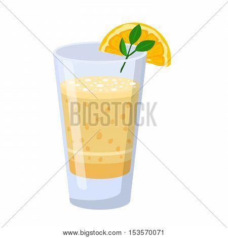 Glass of orange juice fresh drink beverage isolated vector illustration.