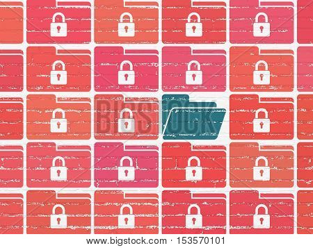 Business concept: rows of Painted red folder with lock icons around blue folder icon on White Brick wall background