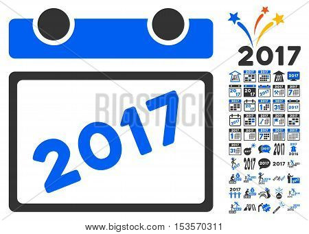 2017 Calendar pictograph with bonus 2017 new year clip art. Vector illustration style is flat iconic symbols, modern colors.