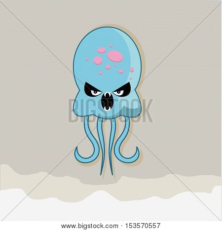 Vector flat and evil jellyfish at the bottom of the ocean. eps jpg