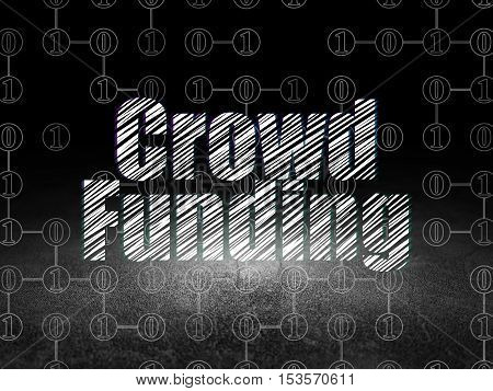 Finance concept: Glowing text Crowd Funding in grunge dark room with Dirty Floor, black background with Scheme Of Binary Code