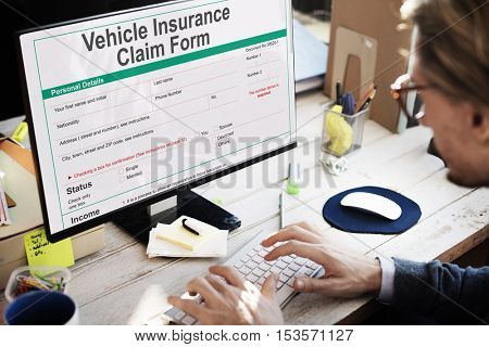 Vehicle Car Insurance Claim Form Concept