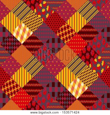 Print for fabric. Patchwork in warm autumn colors. Ethnic boho seamless pattern. Geometric tribal ornament. Vector illustration.