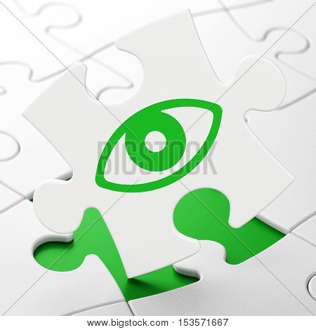 Protection concept: Eye on White puzzle pieces background, 3D rendering