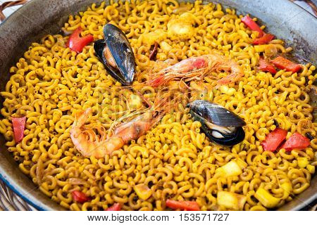 Catalan Fideua, a traditional seafood dish from north east Spain similar to paella .
