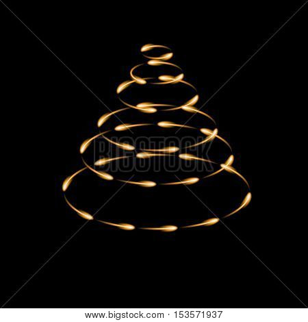 Gold cone made by fireflies modern vector christmas tree icon dark background