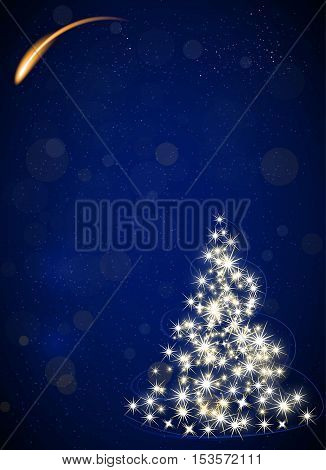 Christmas tree made by stars night blue vector background falling star