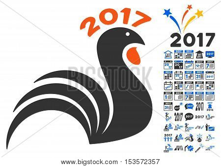 2017 Rooster pictograph with bonus 2017 new year icon set. Vector illustration style is flat iconic symbols, modern colors.