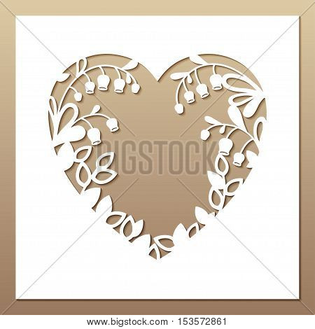Openwork square card with heart and lilies of the valley. Laser cutting template for greeting cards envelopes invitations interior decorative elements.