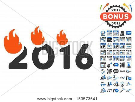 Fired 2016 Year icon with bonus 2017 new year pictograms. Vector illustration style is flat iconic symbols, modern colors.