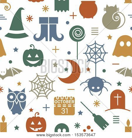 Seamless Halloween colorful pattern with festive Halloween icons. Vector illustration.