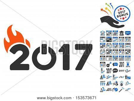 Fired 2017 Year Caption icon with bonus 2017 new year symbols. Vector illustration style is flat iconic symbols, modern colors.
