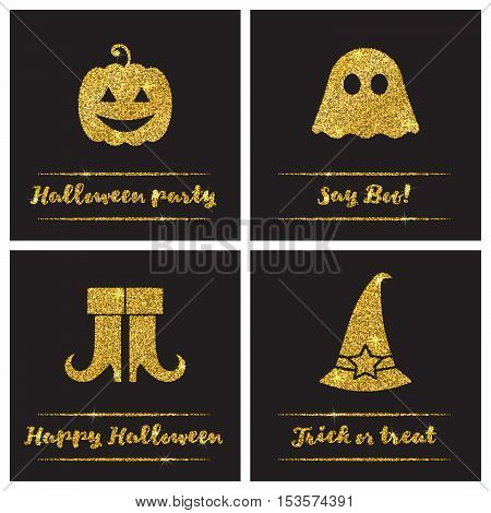 Set of Halloween gold textured icons on black background. Golden design elements for festive banner, greeting and invitation card, flyer, tag, poster, postcard, advertisement. Vector illustration.