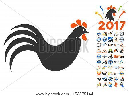Rooster icon with bonus 2017 new year pictograph collection. Vector illustration style is flat iconic symbols, modern colors.