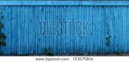 Concept Blue wooden fence. Texture, background, pattern
