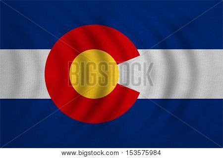 Flag of the US state of Colorado. American patriotic element. USA banner. United States of America symbol. Colorado official flag wavy with detailed fabric texture illustration. Accurate size colors