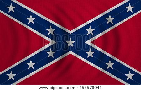 Historical national flag of the Confederate States of America. Known as Confederate Battle Rebel Southern Cross Dixie flag. Patriotic symbol banner. Flag of the CSA wavy real texture illustration