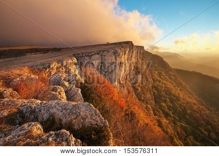 Beautiful mountain landscape in autumn time during sunset