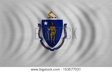 Flag of the US state of Massachusetts. American patriotic element. USA banner. United States of America symbol. Massachusettsan official flag wavy with fabric texture illustration. Accurate size color