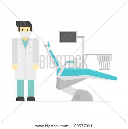 Dental chair vector illustration. Vector illustration dental chair template design. Dental chair in clinic vector. Dental chair illustration isolated