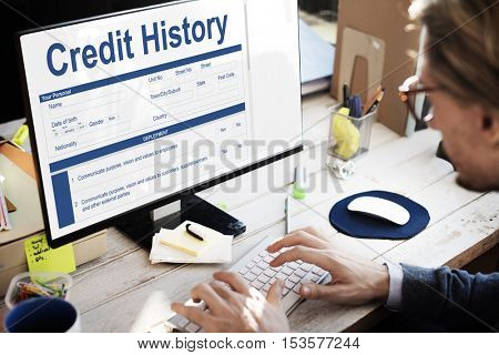 Credit History Invoice Payment Form Information Concept
