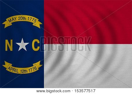 Flag of the US state of North Carolina. American patriotic element. USA banner. United States of America symbol North Carolinian official flag wavy real fabric texture illustration Accurate size color