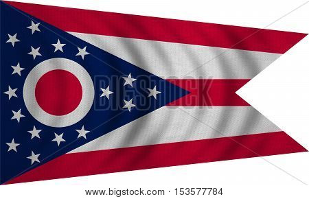 Flag of the US state of Ohio. American patriotic element. USA banner. United States of America symbol. Ohioan official flag wavy on white detailed fabric texture illustration. Accurate size colors
