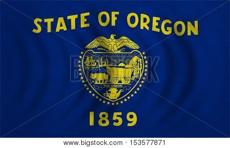 Flag of the US state of Oregon. American patriotic element. USA banner. United States of America symbol. Oregonian official flag wavy real detailed fabric texture illustration. Accurate size colors
