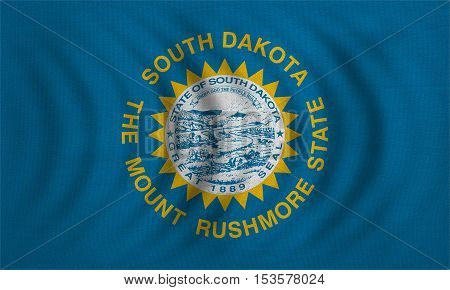 Flag of the US state of South Dakota. American patriotic element. USA banner. United States of America symbol. South Dakotan official flag wavy real fabric texture illustration. Accurate size colors