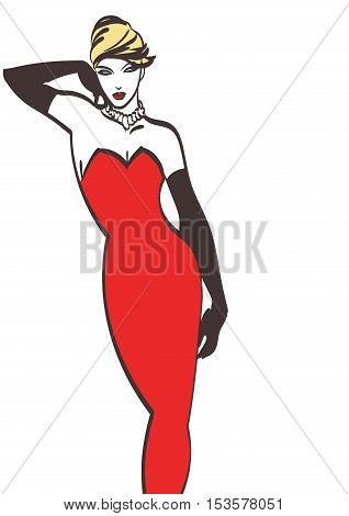 fashion lady in red vector art. Eps 10 on layers