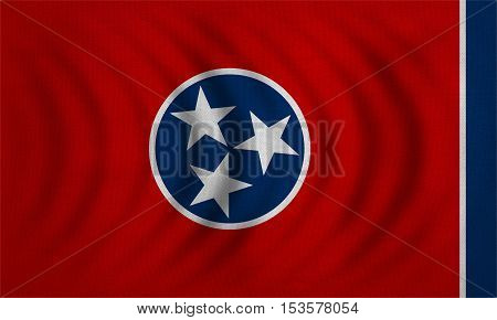 Flag of the US state of Tennessee. American patriotic element. USA banner. United States of America symbol. Tennessean official flag wavy detailed fabric texture illustration. Accurate size colors
