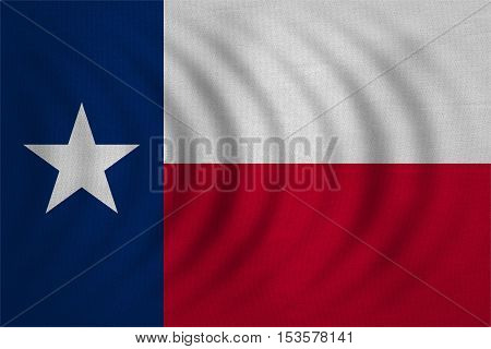 Flag of the US state of Texas. American patriotic element. USA banner. United States of America symbol. Texan official flag wavy with real detailed fabric texture illustration. Accurate size colors