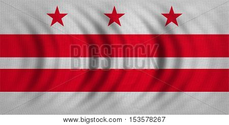 Flag of the District of Columbia. American patriotic element. USA banner. United States of America symbol. Washington D.C. official flag wavy real fabric texture illustration. Accurate size colors