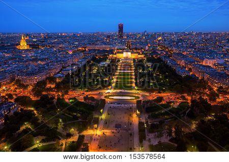 Champs Du Mars In Paris At Night