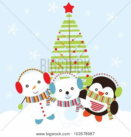 Christmas illustration with cute snowman, bear, and penguin on Xmas tree background suitable for children Xmas card, postcard, and wallpaper