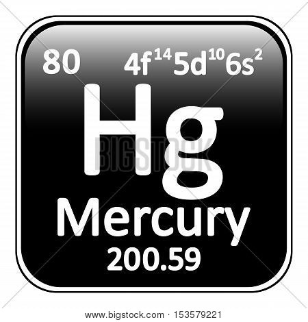Periodic table element mercury icon on white background. Vector illustration.