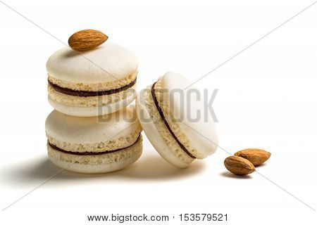 Small Macaroons With Almond On White Background