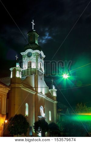 Night View Of Roman Catholic Cathedral  St. George In Uzhgorod