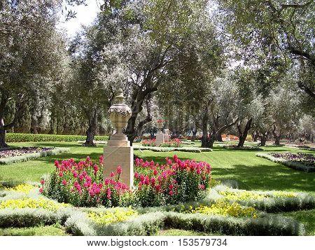 Flowers in Bahai garden near Akko Israel May 11 2004