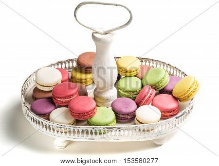 Sweet Macaroons Na Plate On White Background