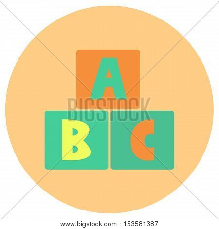 Alphabet block baby toys icon in trendy flat style isolated on grey background. Baby symbol for your design, logo, UI. Vector illustration, EPS10.